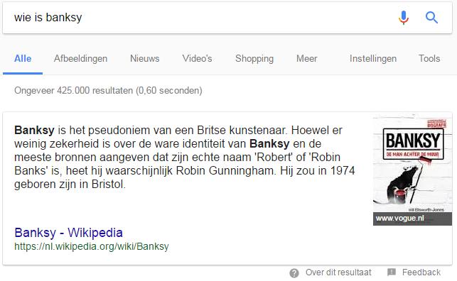 Feedback functie bij Google aanbevolen fragment