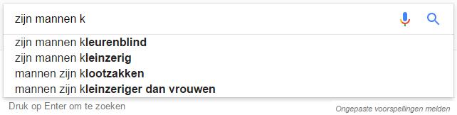 Feedback functie bij bij Google suggesties