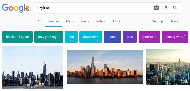 Google Afbeeldingen gekleurde blokken