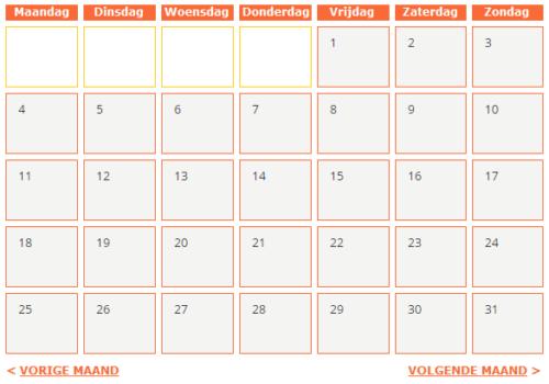 Online kalender met oneindig aantal pagina's
