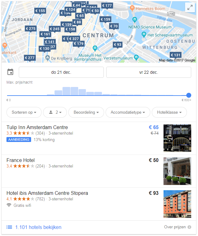 Google OneBox hotels
