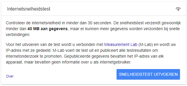 Google OneBox internetsnelheid test