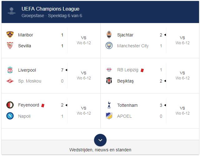 Google OneBox Champions League