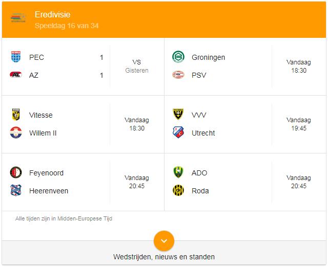 Google OneBox Eredivisie